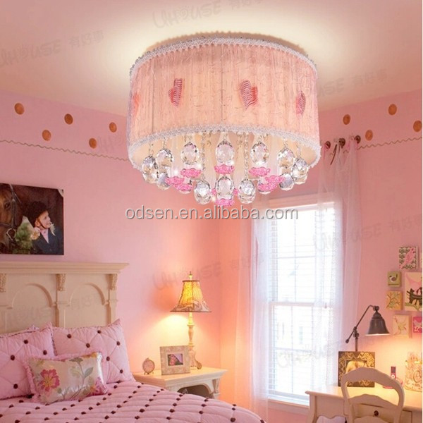 Girl bedroom modern ceiling light pink fabric shape chandelier
