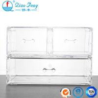 Multiple free combinations acrylic cosmetic clear storage makeup organizer box with drawer