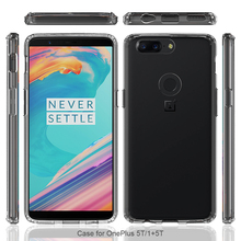 For OnePlus 5T Crystal Case, Impact TPU Frame Bumper Clear PC Slim Hard Cover for OnePlus 5T