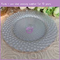 17765 2015 Silver Dinnerware Hobnail Beaded Wedding Diamond Acrylic glass Charger Plates