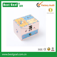 Cartoon print Wooden 2 drawers mechanism music box