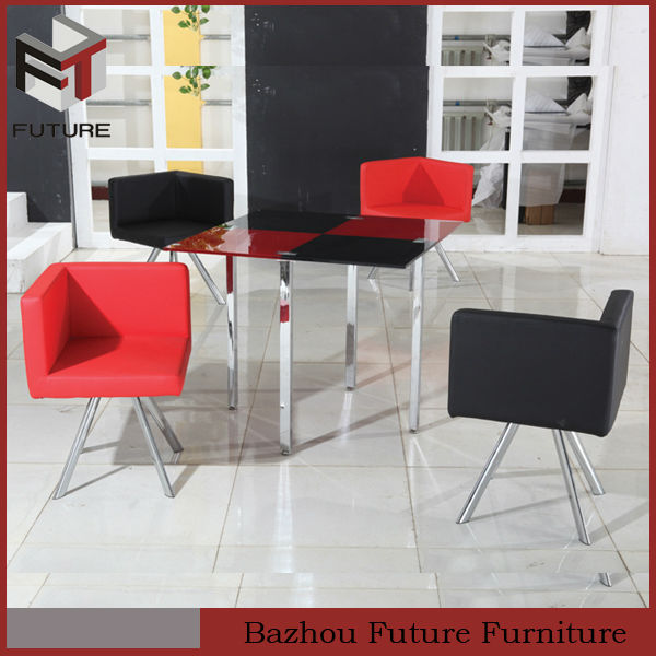modern metal square glass leather corner dining set