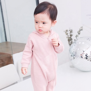High quality plain white baby zipper romper blank organic cotton baby clothes pajamas wholesale 1661