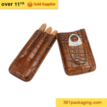 KID new design manfacturer price handmade classic brown luxury leather cigar case
