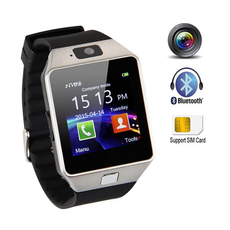 2019 waterproof GSM SIM card touch screen mobile phone Q18 dZ09 smart watch for smartphone