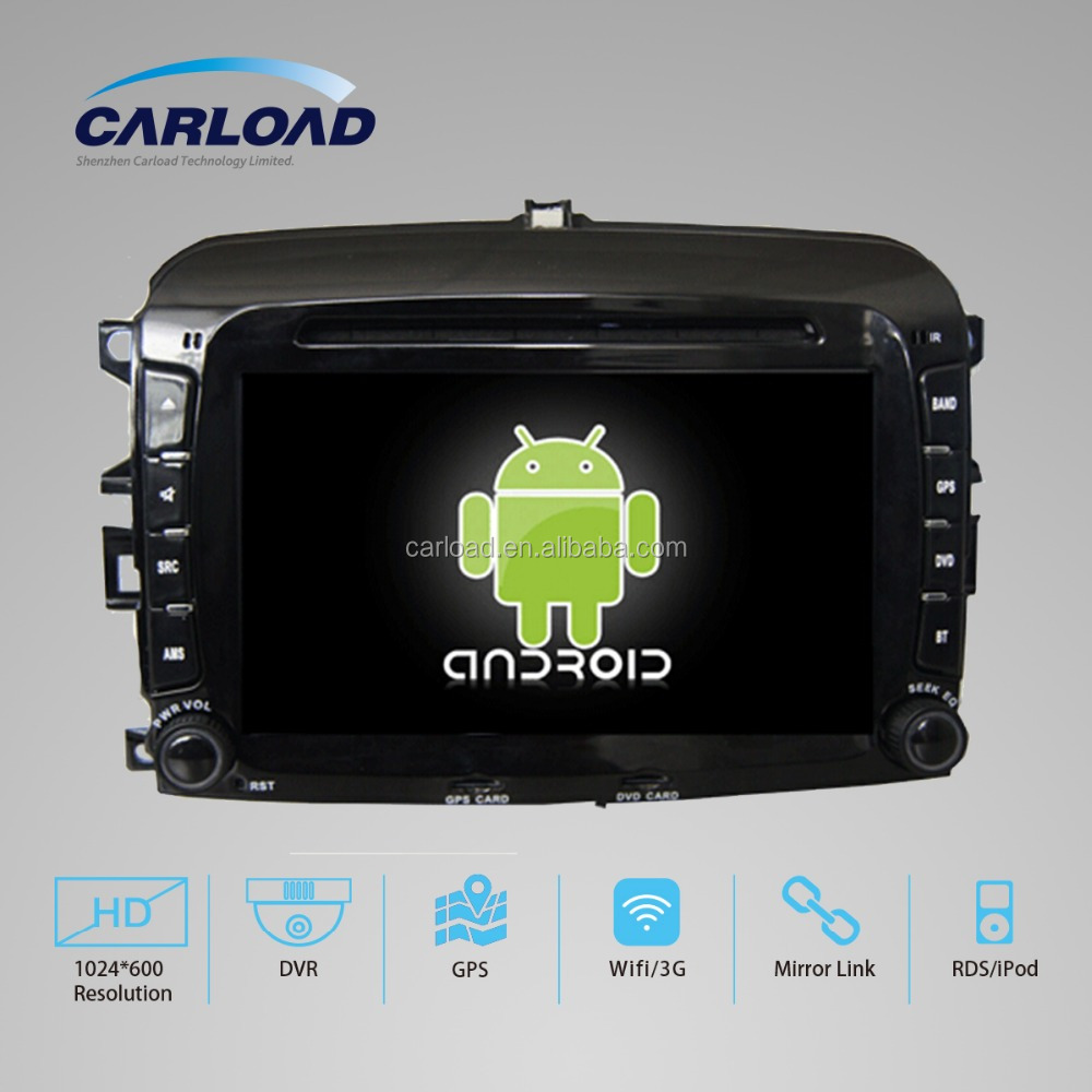 Pure android 4.4 Fiat 500 car radio gps with DVD BT Radio GPS 3G Wifi android mirror link!