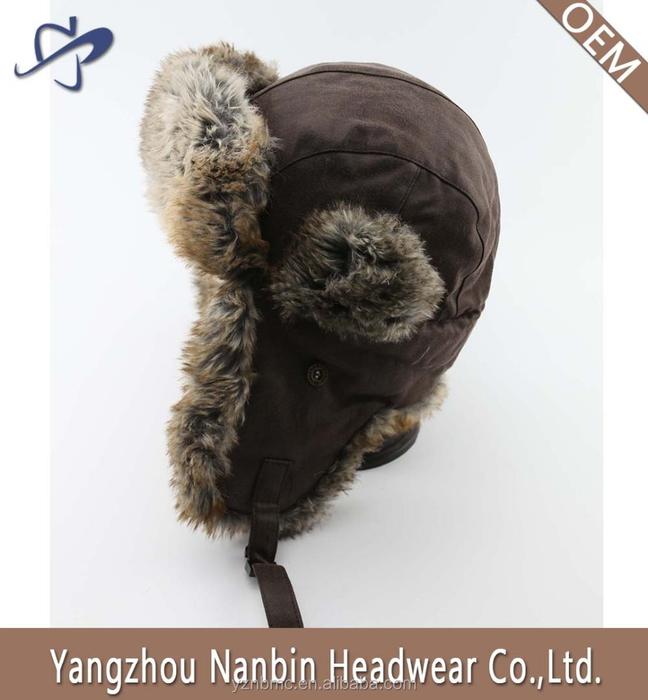 Men furry winter hat with ear flaps