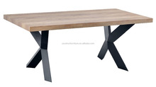best selling wooden dining table mdf cover with oak PU PAPER; metal legs in black powder coating;