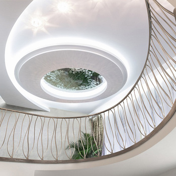 Circle Glass Railing Carbon Steel Stringer Curved Stairs