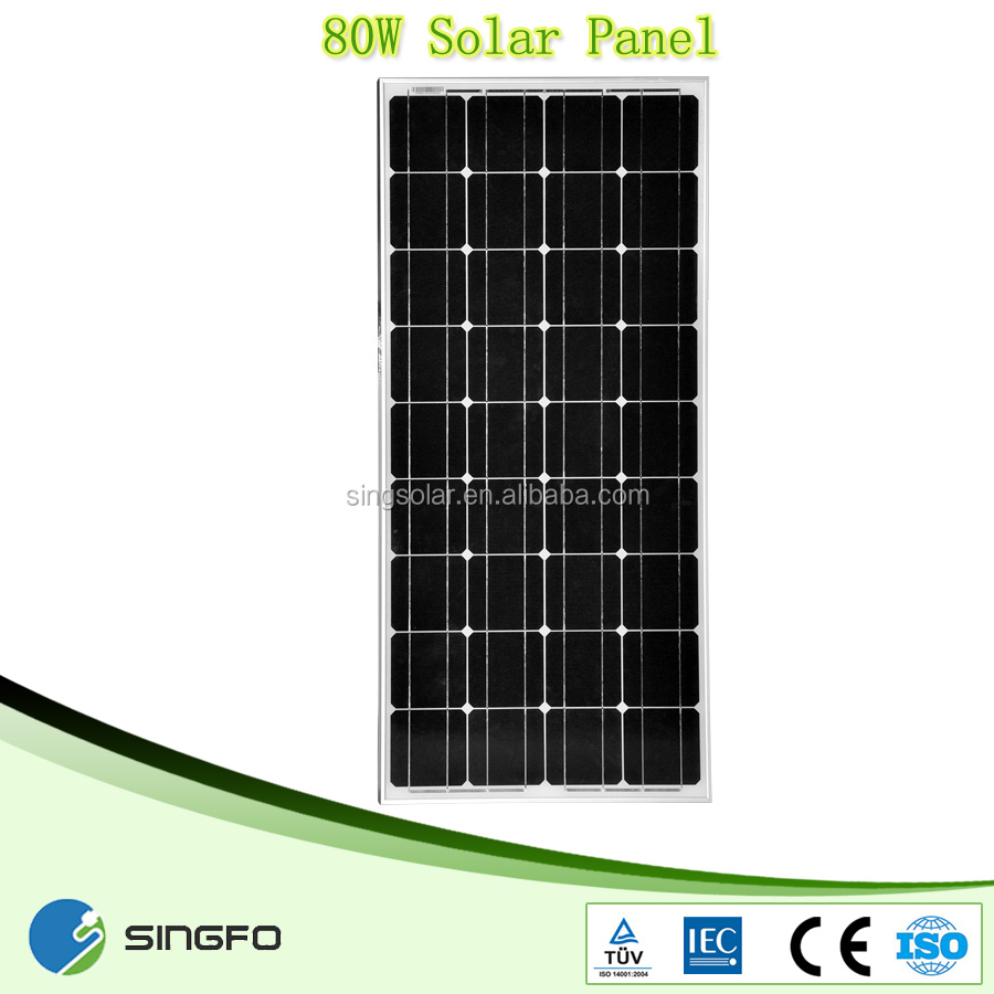 Best price per watt 18v 80w mono and poly solar panel