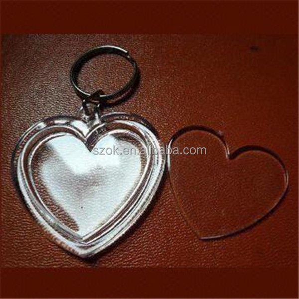 Heart shape double saides acrylic keychain from China