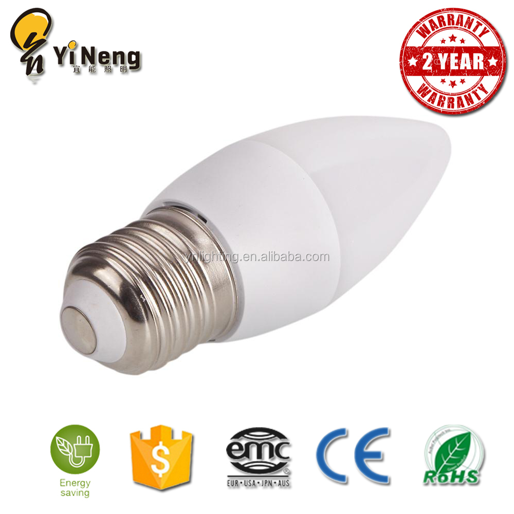 wholesale 2 years warranty C37 LED Candle Bulb, plastic and Aluminium housing 4w 5W IC candle lamp