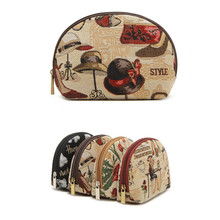 Half round zipper embroidery travel wash bag,canvas cotton fabric cosmetics toiletry vanity makeup grooming pouch pack case set