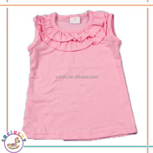 wholesale knitted cotton teenage infant summer sleeveless ruffles neck solid color bib pink girl Tshirt