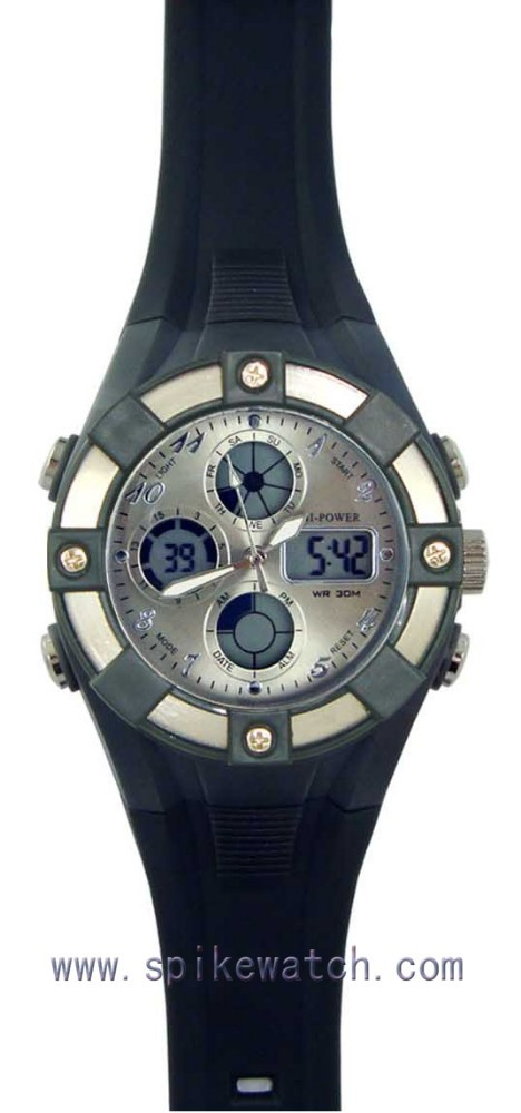 Dual time plastic analog digital multifunction sports men lcd hands watch