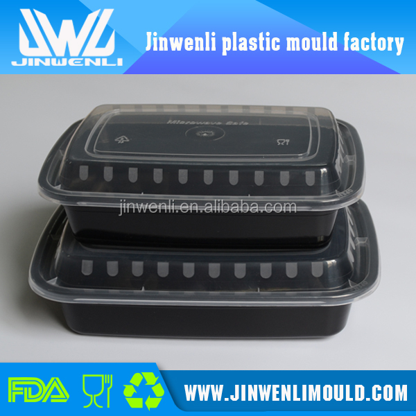 Microwave safe food box black disposable plastic food container with clear lid
