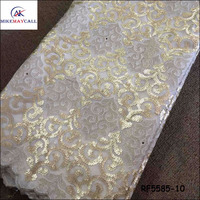 RF5585-10 African wholesale silver double organza lace fabric with sequins for wedding