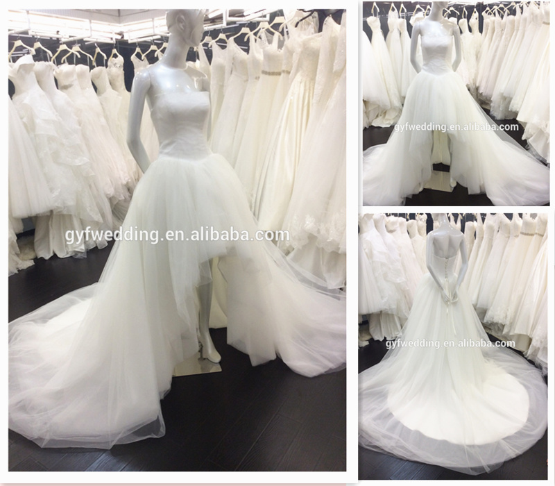 Wholesale Guangzhou Factory Strapless Classic Puffy Gown V-Waist Low Back Short Front Long Back Wedding Dress <strong>A006</strong>