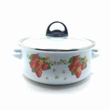 Decorative enamel casserole cookware set with hollow handles