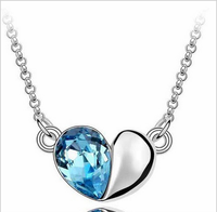Navy Blue Heart Crystal Pendant fashion jewelry free shipping wholesale fashion jewelry