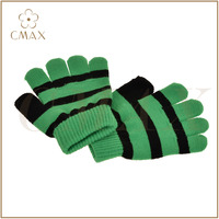 Top sale green black striped lady children fashion knitted magic glove