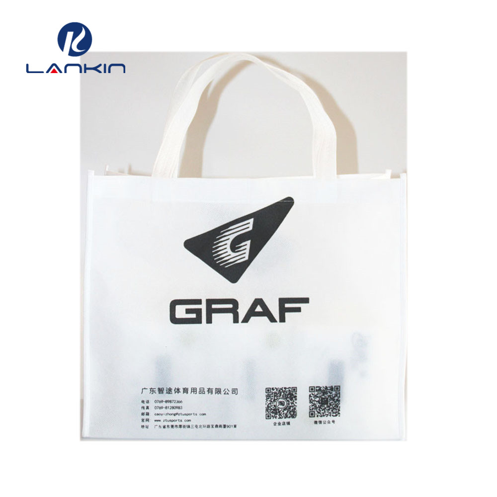 white shopping bag with black made in guangzhou