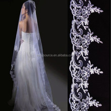2014 new White embroidery long tulle cathedral applique decent veil for wedding