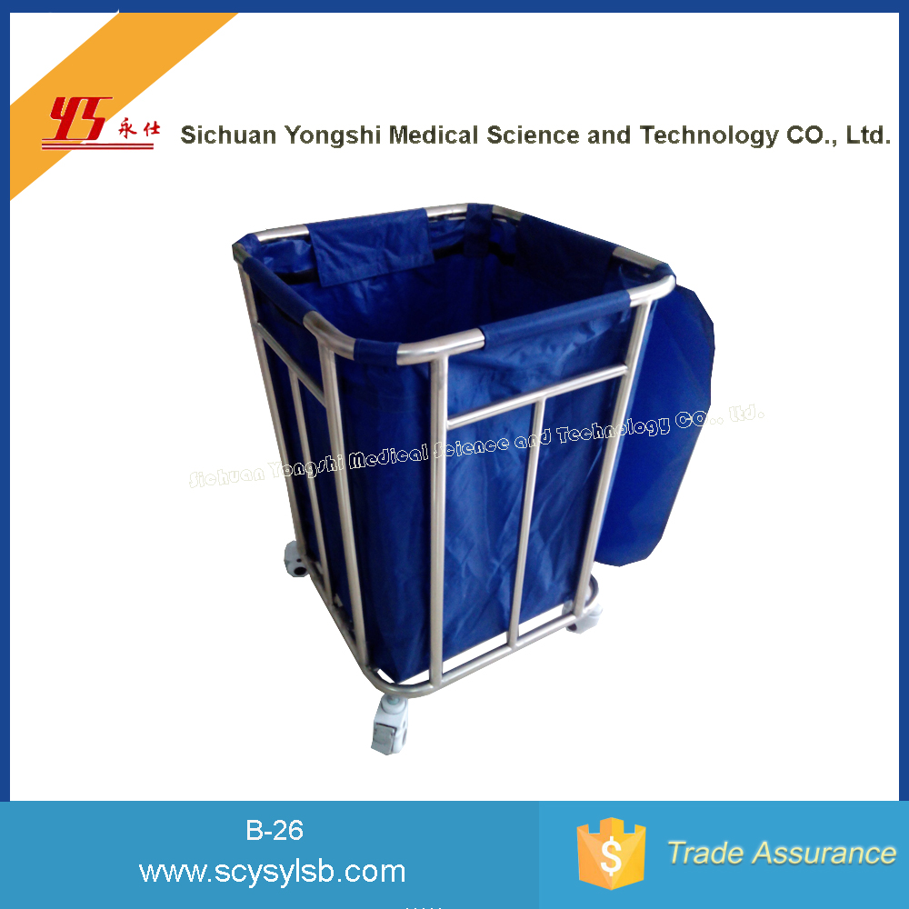 Alibaba Cheap Stainless Steel hospital Soiled Linen Trolley for sale