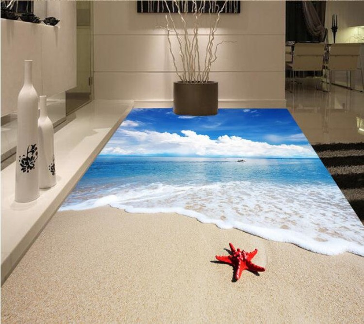 new beach 3d design ceramic floor bathroom tile