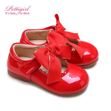 Hot-selling Autumn Leather Bontique Single-Red baby girl kids Shoes