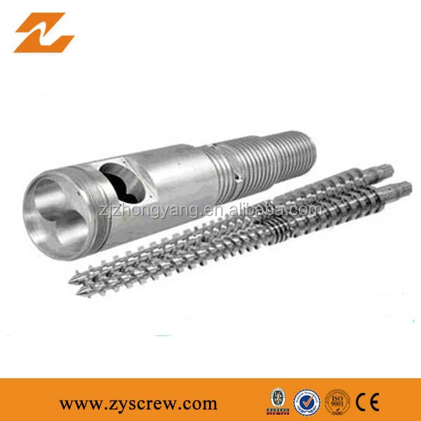 Plastic extruder machine parts Twin conical screw and barrel for pvc extrusion machine