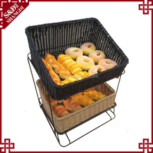 Decorating supermarket or shop bread fruit vegetable display 2 tier fruit basket