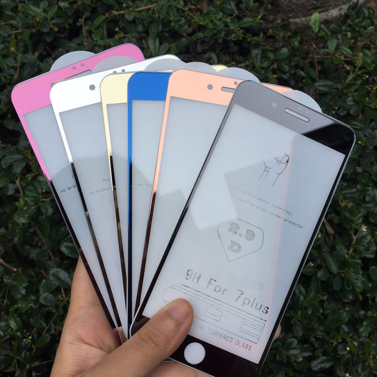 For iPhone 7 7plus colored mirror Tempered glass Screen Protectors