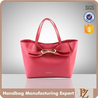5072 Hot sale designer saffiano PU leather tote stylish handbag with metal knot