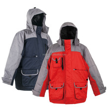 ski jacket oxford/PU jacket in two tone waterproof