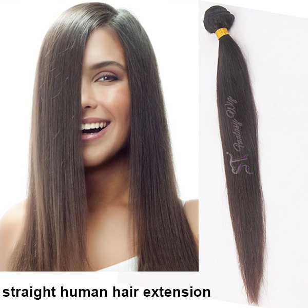 Double weft 100 virgin brazilian straight human hair extension black color