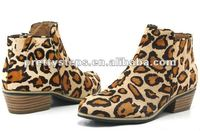 2012 Winter Pretty Steps leopard new arrival new design women leather 5cm heels boots, high qualith cheap short boots for women