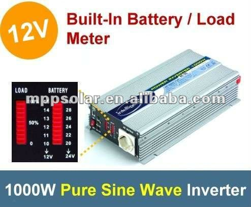 1000W with battery meter pure sine wave inverter dc to ac power inverter 12v