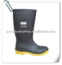 pvc safety boot for mining worker with steel cap and sole