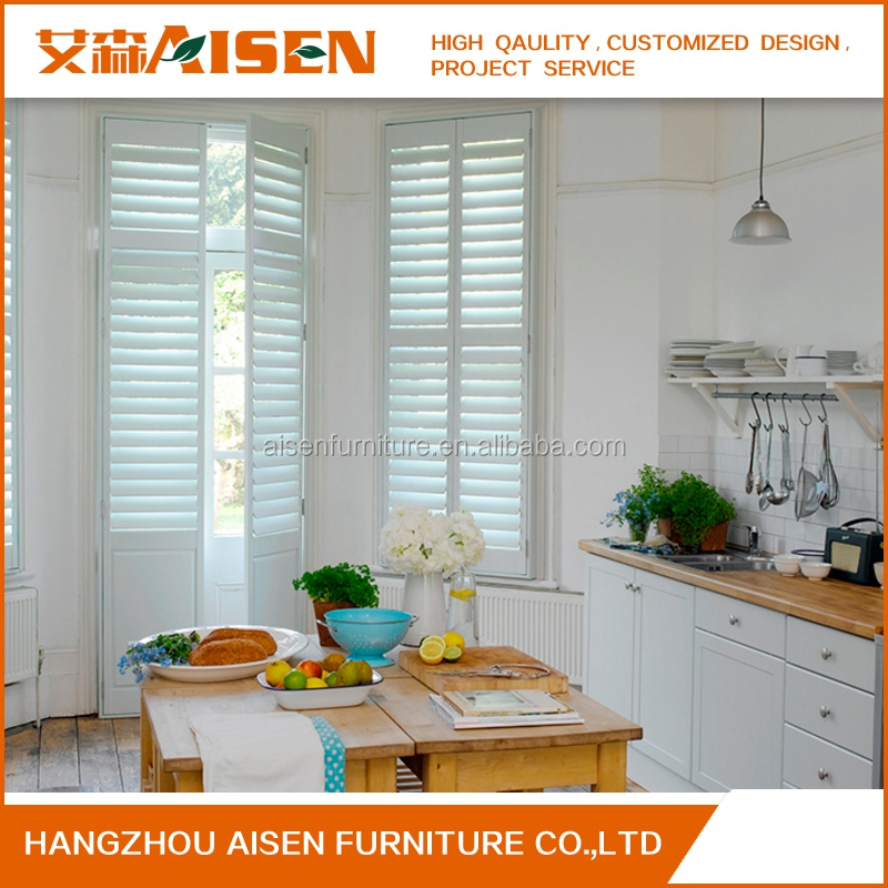 Hot Sale 2017 kitchen shutters wood plantation shutter window shutters design