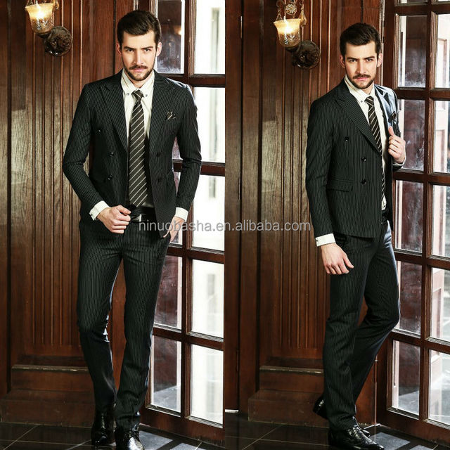 Welcomed Pinstripe Handsome Men Wedding Suits Pictures Top Brand Two-Row Buttons Coat Pant Suit Design For Business NB0565
