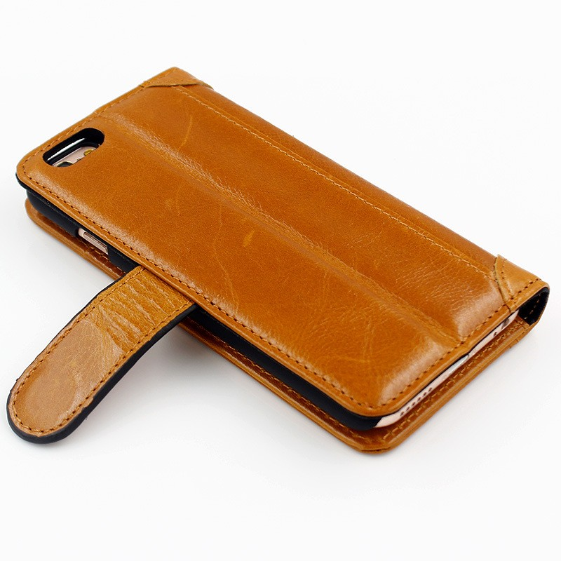 Luxury Window Style Genuine Leather Folio Cover for Iphone 6s/6s Plus