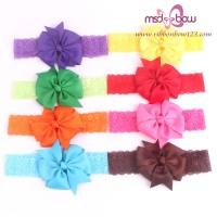 fashion beautiful baby girls elastic chiffon satin flower hair bands wholesale kids headband