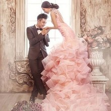 Z75991A Elegant European Pink Lace Long Tail Women's Wedding Dress