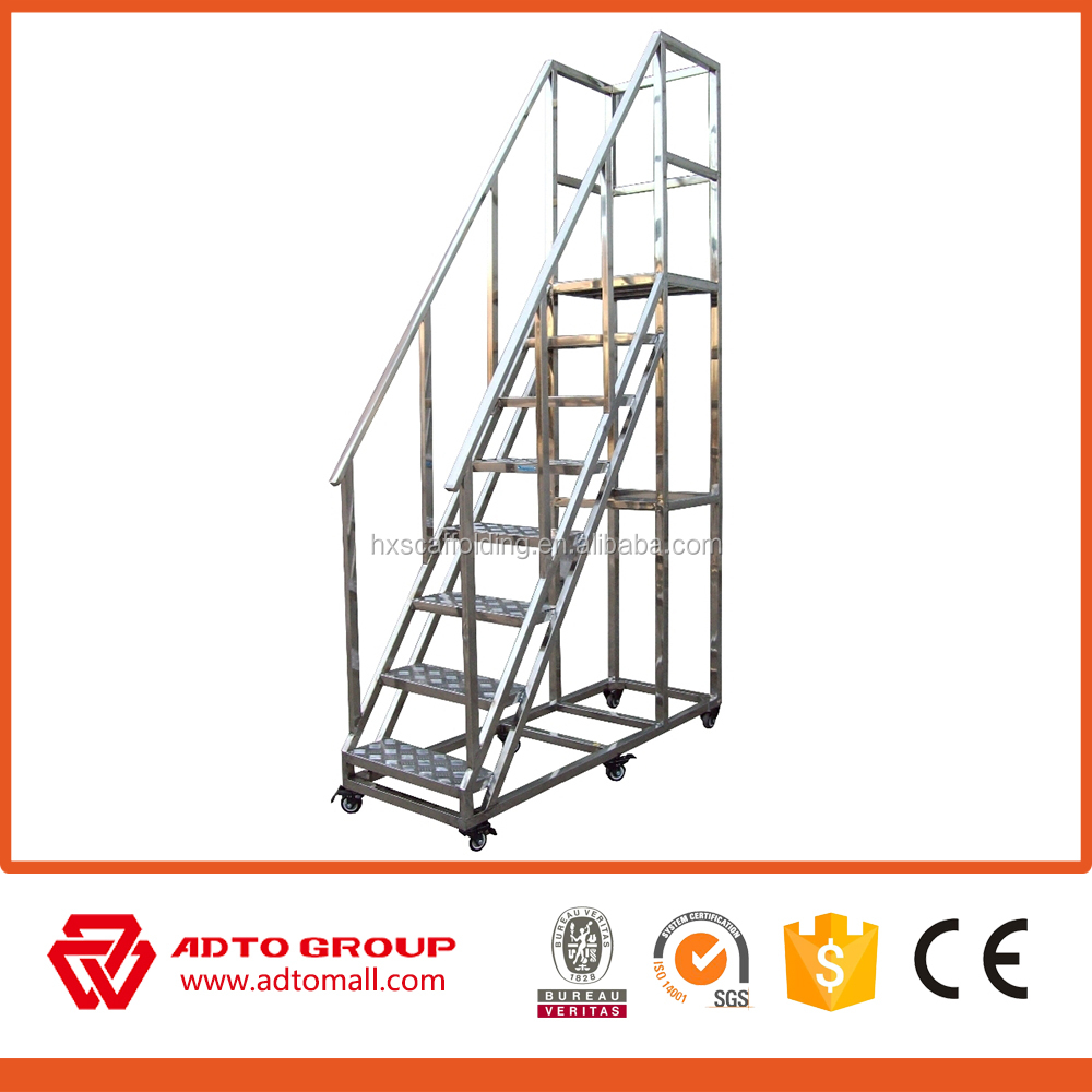 portable metal stairs,movable platform ladder,aluminum exterior stairs