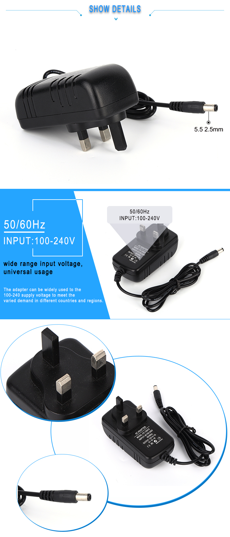 CE Certification mobile phone accessories 5v 1.5a ac power adapter