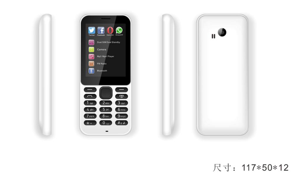 High Copy Mobile Phone 2.4inch QVGA Screen Dual SIM BL-4C Battery 222 Feature Phone Support Bluetooth For Bulk Order