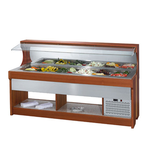 Wall Side Commercial Counter Cold Glass Top Salad Bar