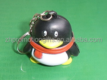 Interesting pu stress keychain with penguin shaped