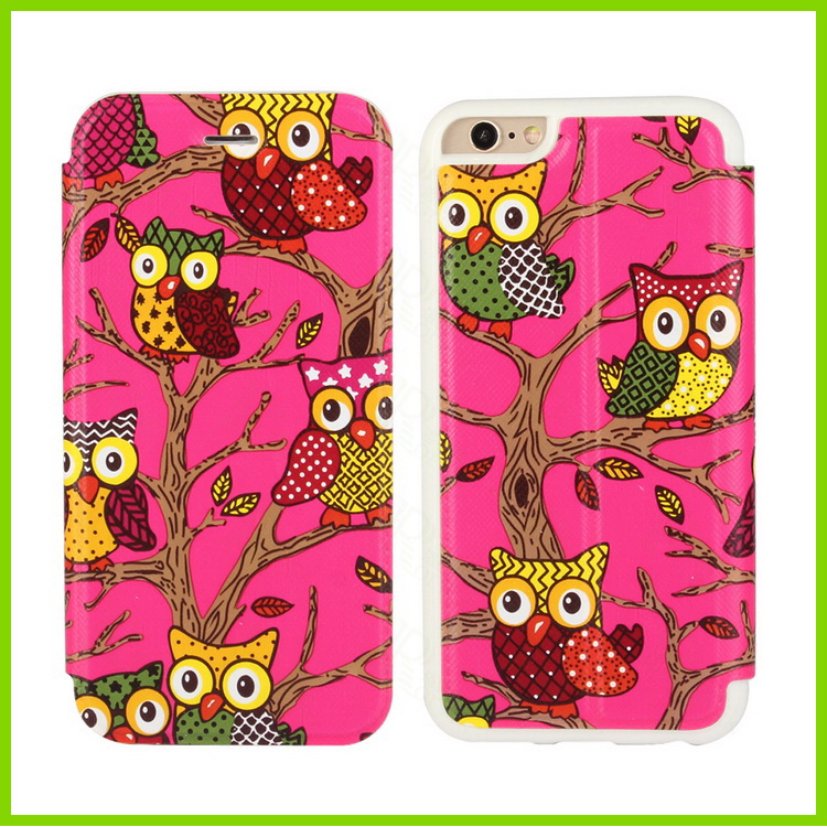 Owl Printed Premium PU Leather Wallet Flip Protective Phone Skin Case with Magnetic Closure for Apple iPhone 6S